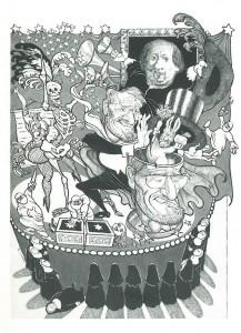 Tidligere helseminister Gudmund Hernes tryller. Illustrasjon ved Ellen Auensen