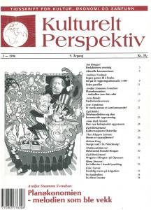 Daværende Helseminister Gudmund Hernes tryller på forsiden av Kulturelt Perspektiv, tidsskrift for kultur, økonomi og samfunn, nr. 3/1996