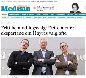 Faksimile fra Dagens Medisin 24.04.13. Helseøkonomene: Jon Magnussen, Jan Abel Olsen og Ivar Sønbø Kristiansen.
