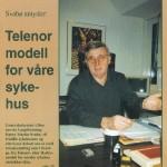 Legeforeningens generalsekretær lanserte Telenor-modellen for norske sykehus i 1998. Faksimile Legekunsten 1/1998.