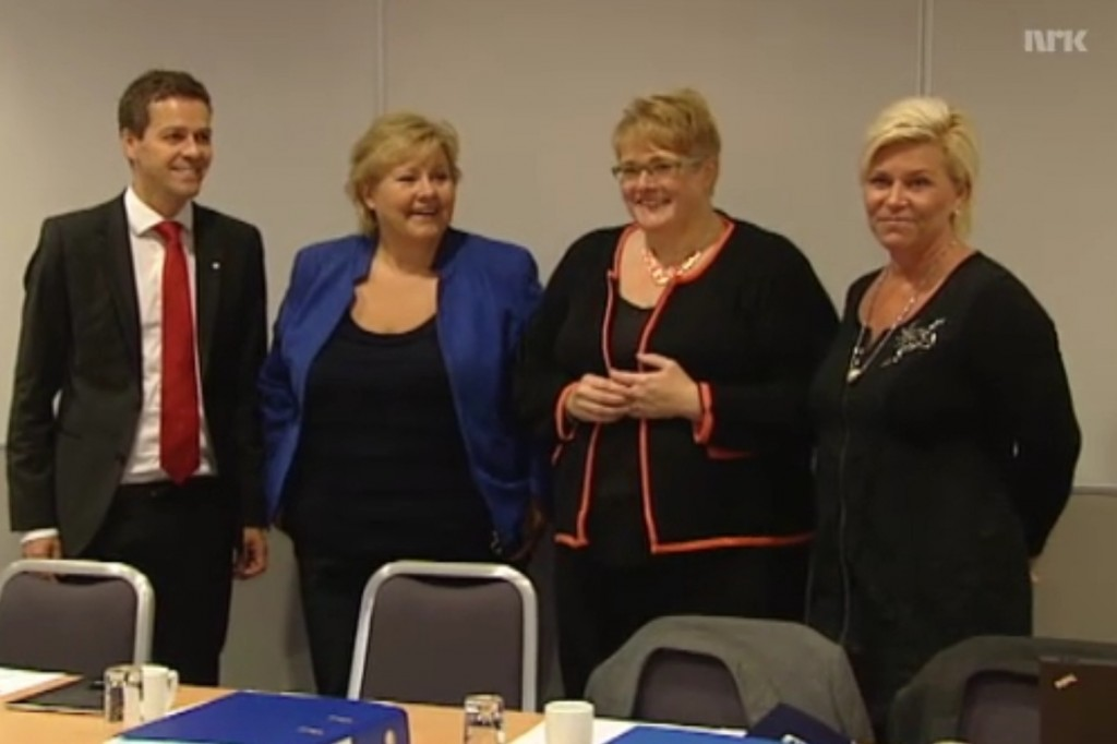 De borgerlige partiene er i gang med å fastlegge helsepolitikken for de neste årene. Faksimile NRK.