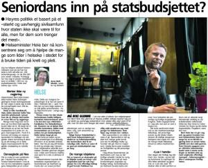 """""""Seniordans inn på Statsbudsjettet"""". Faksimile VG 21/04/2014"""