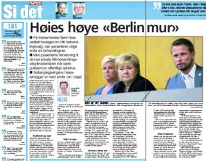 """Bent Høies høye """"Berlin-mur"""". Faksimile VG 08/08/2014"""
