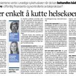 """""""Det er enkelt å kutte helsekøene"""" (Faksimile Stavanger Aftenblad 21.04.2014)"""