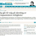 Arbeiderpartiet går til valg på skroting av ruspasienters rettigheter (Faksimile Dagens Medisin)