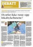 """Hvorfor ikke ruste opp lokalsykehusene?"" Faksimile Hamar Arbeiderblad 24.07.2015"