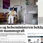 Faksimile Aftenposten. Støre beklager utsatt mammografi