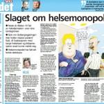 VG Kronikk: Slaget om helsemonopolet (Faksimile vg.no)